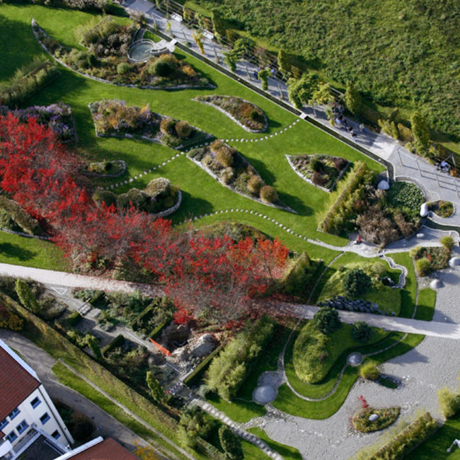 Klima- und Baumhainkonzepte Projekte Healing Garden Bad Saulgau Flug